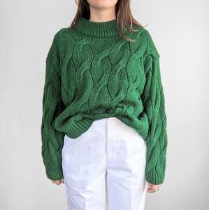H&M Emerald Green Boxy Chunky Cableknit Sweater L